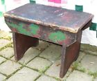 Antique Primitive FOOT STOOL Small Child Bench w OLD GREEN RED Paint Remnants