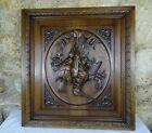Antique Fench Large Walnut Carved Wood Architectural Panel Door Hunting Scene