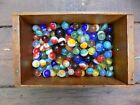 Wood Vintage Box Cooper Cheese full of old marbles