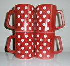 4~Fire King Red/White Polka Dot~Coffee Mugs~Heat Proof