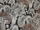 2 yards  12 stretch spandex lycra fabric paisley print silver sequin dots