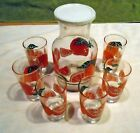 Vtg Anchor Hocking ORANGE JUICE SET 7 Piece Carafe With lid- 6 Glasses Excellent