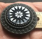 XL Antique Black Glass Button set in metal LARGE at 1-15/16