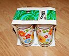 4 Vintage Libbey Drinking Beverage Glasses Red Yellow Blue Orange Flowers NIB