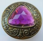 Spectacular X LARGE Antique GAY 90's Metal BUTTON Amethyst GLASS 1- 5/8