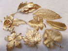 Vintae Brooches....GOLD TONE LEAVES, SOME SIGNED