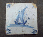 Antique Dutch Delft Tile With Sailing Ship about 1650 Pirate Time Nr.2