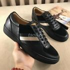 Men Striped Round Toe Fashion Sneakers Lace Up Leather Board Shoes Flat Occident
