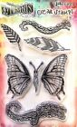 Dylusions Flight of Fancy Clear Stamp Set by Ranger DYB61960 NEW Butterfly