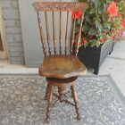 Antique Victorian Piano Organ Chair Stool High Back Carved Wood Swivel Phila. PA