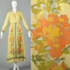M 1970s Alfred Shaheen Long Sleeve Maxi Dress Floral Print Yellow Bohemian 70s