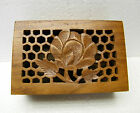 handcrafted India Archana crafts wood box carved reticulated wood lid