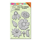 Cling Daisy Flower Mix Rubber Stamp  Stencil by Stampendous CRS5082 NEW