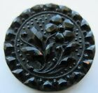 Exquisite LARGE Antique Victorian Black GLASS Picture BUTTON Flower Design (B30)