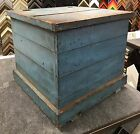 Primitive original blanket box old blue paint square nails 25.75w25.75d23h