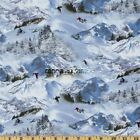 Winter Sports Mountain Downhill White Skiing Cotton Fabric By The Yard 380