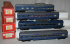 Triang Set of 4 Blue Tri Ang Railways Passenger Cars in Boxes OO Gauge HO