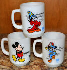 3 VINTAGE FIRE KING MILK GLASS PEPSI MICKEY MOUSE D-HANDLE COFFEE MUG, CUP