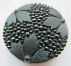 Stunning Antique Victorian Pressed Black GLASS BUTTON Faceted Flowers (H21)