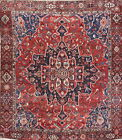 Antique Geometric Large Medallion Bakhtiari Persian Area Rug Oriental Wool 10x13