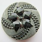 Beautiful LARGE Antique~ Vtg Victorian Black GLASS BUTTON w/ Silver Luster (K29)
