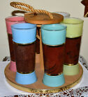 VINTAGE SIESTA WARE WALNUT TIKI TAPA BAR BEVERAGE, COCKTAIL GLASSES WITH CARRIER