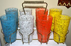 8 VINTAGE 1950'S SPAGHETTI STRING BEVERAGE, COCKTAIL GLASSES IN WIRE CARRIER