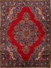 10x13 Vintage Geometric Red/Royal Blue Tabriz Persian Oriental Medalion Area Rug