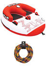 Airhead Riptide 2 Double Rider Inflatable Boat Towable Tube w 60 Foot Tow Rope