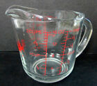 VTG Fire King 2 CUP GLASS MEASURING CUP w/ RED LETTERING #498 Closed D Handle