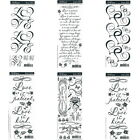 WEDDING Love Rub On Scrapbooking Transfers 6 sheets Verse Words Flowers Hearts