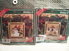 2 Mill Hill Cross Stitch Kits Holiday II Buttons  Beaded Candyland Snowfamily