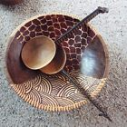 Wood Hand carved Zebra Salad Bowl with Serving Spoons - Very Neat