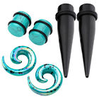 Acrylic Stone Polka Dot Ear Expender Stretching Taper Plugs Piercing Set Hot