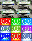 Cotton RGB Halo Rings Angel Eyes Fit For Chevy Camaro 2010 2015 Demon Flash DRL