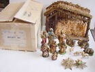 Vintage Sears Christmas Nativity Wood Stable Manger figures ITALY 71 97136 +BOX
