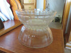 Vintage Anchor Hocking clear glass Bowls Ribbed w starburst base Pair 7
