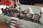 Spooky Halloween iron FENCE & Gate w/ Brick, Crow, for Dept 56 Lemax Village