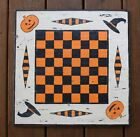 Primitive Hand Painted Wooden Halloween Checkerboard Game Board Antiqued