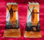Windmill Salt and Pepper Shakers Gold Tops CLEAN Hand Painted Porcelain Japan