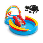 Intex Inflatable Pool Water Play Rainbow Ring Center Slide w Electric Air Pump