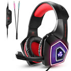 Professional Gaming Headset Headphone With Mic+7LED Light For PS4 Xbox Laptop US