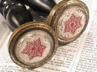Pair Victorian Curtain Tie Tiebacks RED Six Pointed Star 1-11/16