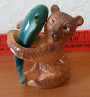 Salt  Pepper Shakers Bear with Fish Salmon