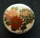 Antique Vtg SATSUMA  2 FLOWERS Plant Life Button colorful w Gold
