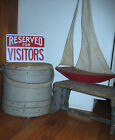 EXCELLENT LARGE ANTIQUE FIRKIN WONDERFUL OLD BLUE PAINT, OLD NAILS  AAFA NR