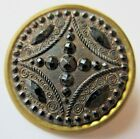 Magnificent Antique Victorian Pressed Black GLASS in Metal BUTTON w/ Luster (J6)