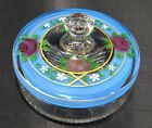 Vintage Glass Candy Dish Hand Painted Floral Tri Split Bottom Crystal