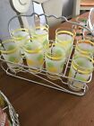 Mid Century Hostess Set: 8 Glasses with Retro Caddy