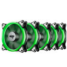 Pack of 5 Aigo 120mm 12cm Halo Ring Neon GREEN LED Computer PC Case Cooling Fan